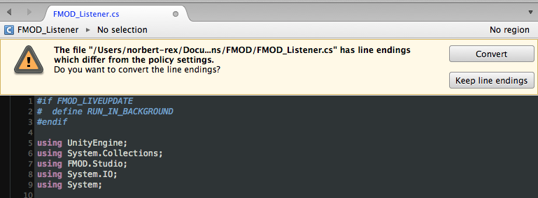 line ending warning in Monodevelop